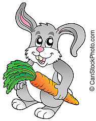 Cute bunny holding carrot - vector illustration.