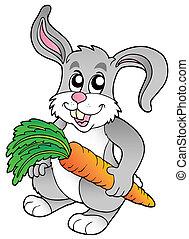 Cute bunny holding carrot - vector illustration.