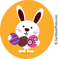 Cute Bunny holding easter eggs - Little cute easter Bunny...