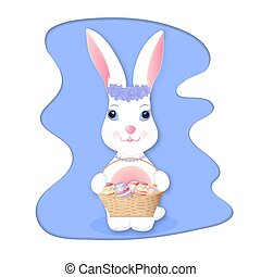 Cute bunny holding wicker basket with Easter eggs.