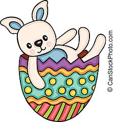 Cute bunny in easter egg