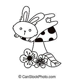 cute bunny jumping mushroom and flowers autumn season isolated icon line style