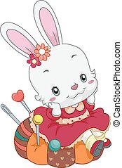 Cute Bunny Pin Cushion - Illustration of a Cute Bunny...