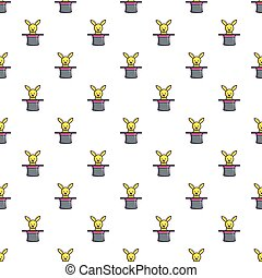 Cute bunny rabbit in magic hat pattern seamless