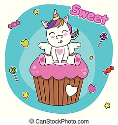 cute bunny sitting on a cupcake