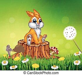 Cute bunny sitting on tree stump