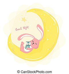 cute bunny sleeping on cresent the moon with cute owl flat vector