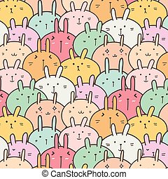 Cute Bunny Vector Pattern Background. Funny Doodle.