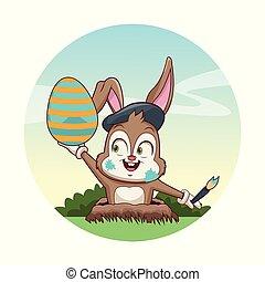 Cute bunny with easter egg cartoon