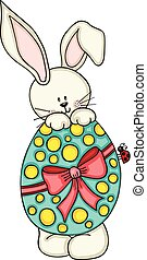 Cute bunny with Easter egg