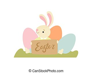 Cute Bunny with Eggs, Happy Easter, Design Element for Greeting Card, Invitation, Poster, Banner Vector Illustration