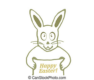 Cute Bunny with Happy Easter Text Banner Drawing