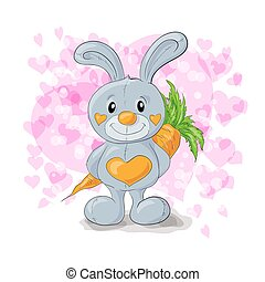 Cute bunny with hearts cartoon.