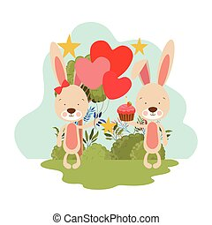 cute bunny with helium balloons