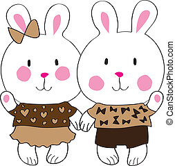 Cute bunny with love letter - Funny bunnies holding hands on...