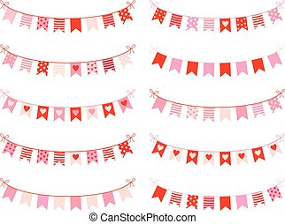 Cute buntings with hearts, dots and stripes in pink and red colors for Valentines day, invitations and greeting cards