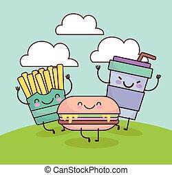 cute burger soda french fries