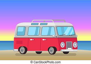 Cute Bus on Evening Beach, Vector Illustration