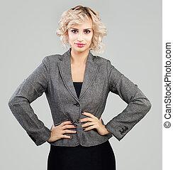 Cute business woman in suit portrait