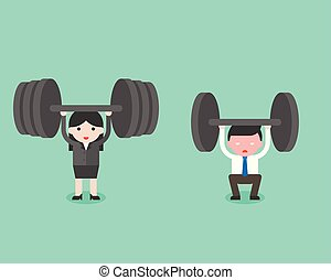 Cute businessman and businesswoman try to lift weight, and woman won, business situation about powerful woman concept