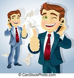 Cute businessman reported good news on the phone and shows...