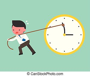 Cute businessman try hard to pull back minute hand anti clockwise by rope, vector turn back time concept