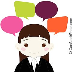 Cute Businesswoman with Colorful Blank Speech Bubble