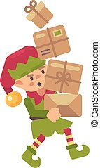 Cute busy Christmas elf carrying parcels with presents for kids. Holiday character flat illustration