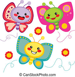 Cute Butterflies - Three cute colorful butterfly friends...