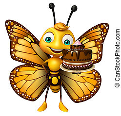 cute Butterfly cartoon character with cake - 3d rendered ...