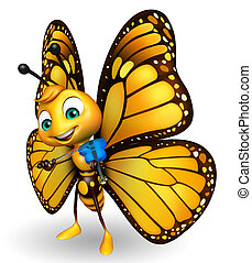 cute Butterfly cartoon character  with violin