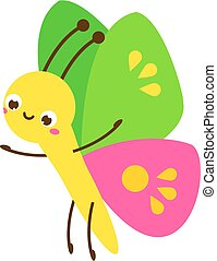 Cute butterfly. Cartoon insect character. Vector illustration