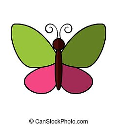 cute butterfly flying icon