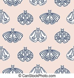 Cute butterfly pastel seamless vector pattern.