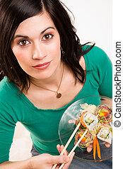 cute, cândido, mulher, alimento cru, sushi, almoço, morena, fim, retrato