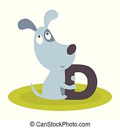 cute, cão, animal, alfabeto