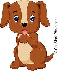 cute, cão, caricatura