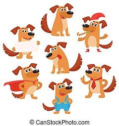 cute, cão, marrom, engraçado, personagem, filhote cachorro