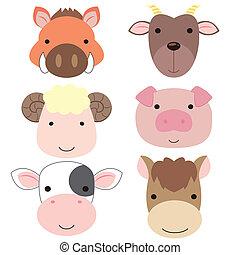 cute, cabeça animal, icon05