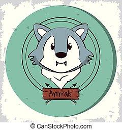 cute, cabeça, lobo, caricatura