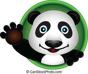 cute, cabeça, panda, caricatura