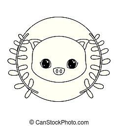 cute, cabeça, quadro, coroa, piggy, folheia, circular
