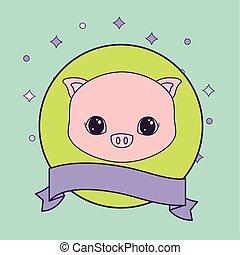 cute, cabeça, quadro, piggy, fita, circular