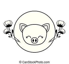 cute, cabeça, quadro, piggy, flores, circular