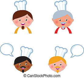 cute, cabeças, ícones, isolado, cobrança, cozinheiro, branca