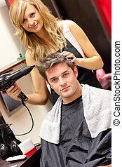 cute, cabeleireiras, com, um, cliente