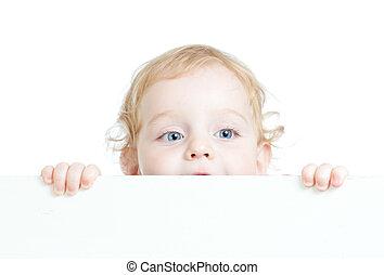 cute, cacheados, criança, anunciando, segurando, em branco, bandeira