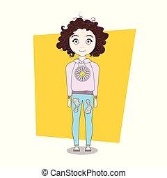 cute, cacheados, hipster, menina, caricatura, roupas