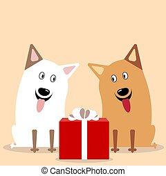 cute, cachorros, vetorial, dois, apartamento