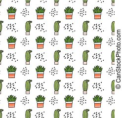 Cute cactus cartoon background suitable for fabric print
